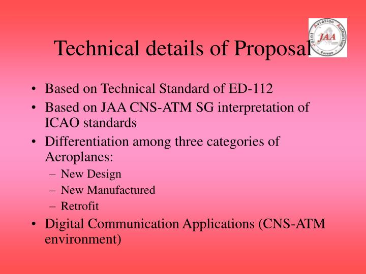 Technical details of Proposal