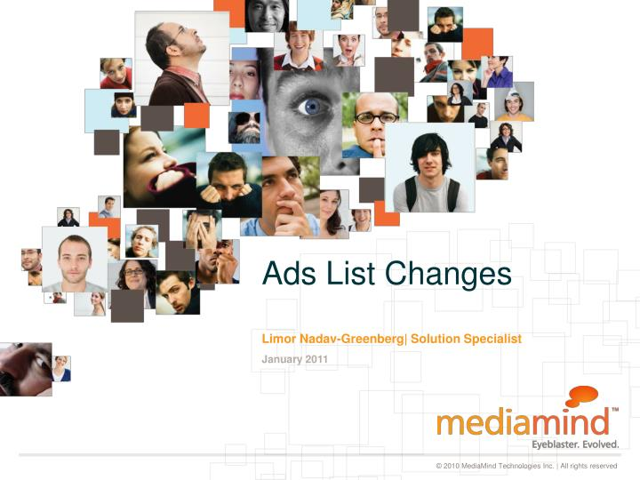 Ads list changes