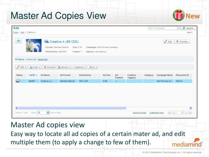 Master Ad Copies View