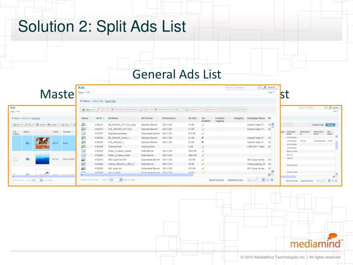 Solution 2: Split Ads List