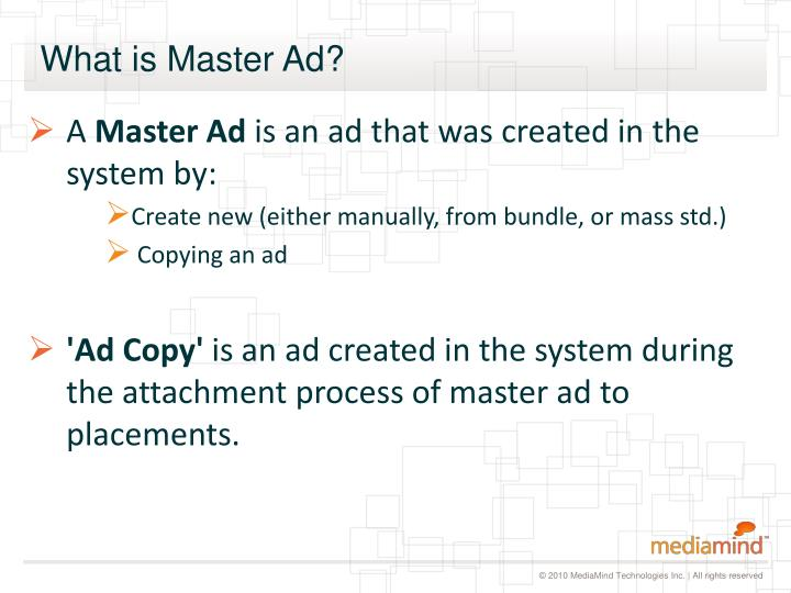 What is Master Ad?