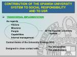 contribution of the spanish university system to social responsibility and to usr
