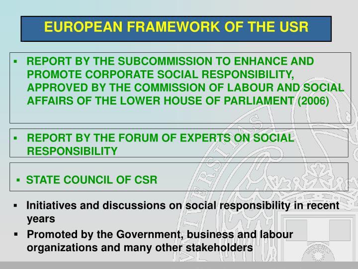 EUROPEAN FRAMEWORK OF THE USR