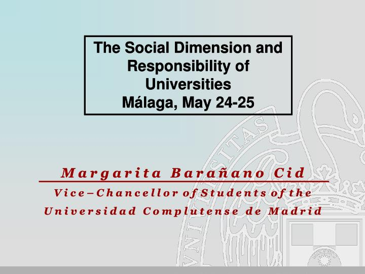 The Social Dimension and Responsibility of Universities