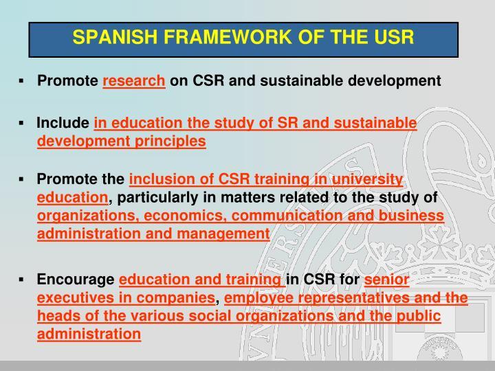 SPANISH FRAMEWORK OF THE USR