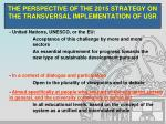 the perspective of the 2015 strategy on the transversal implementation of usr1