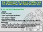 the perspective of the 2015 strategy on the transversal implementation of usr12