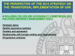 the perspective of the 2015 strategy on the transversal implementation of usr13