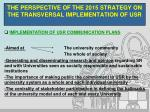 the perspective of the 2015 strategy on the transversal implementation of usr14