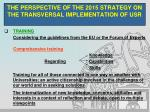 the perspective of the 2015 strategy on the transversal implementation of usr2