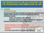 the perspective of the 2015 strategy on the transversal implementation of usr3