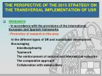 the perspective of the 2015 strategy on the transversal implementation of usr4