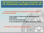 the perspective of the 2015 strategy on the transversal implementation of usr5