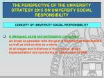 the perspective of the university strategy 2015 on university social responsibility5