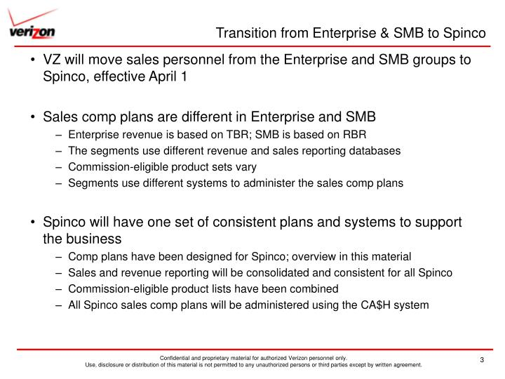 Transition from enterprise smb to spinco