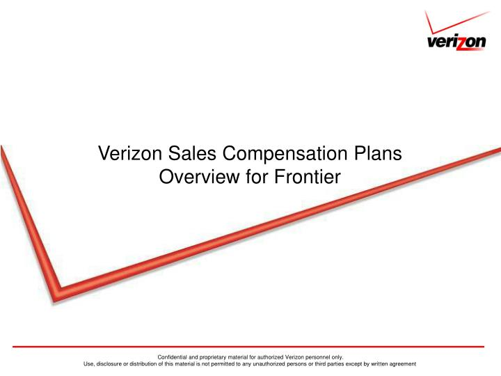 Verizon sales compensation plans overview for frontier