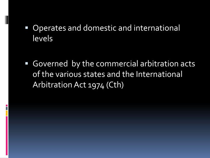 Operates and domestic and international levels