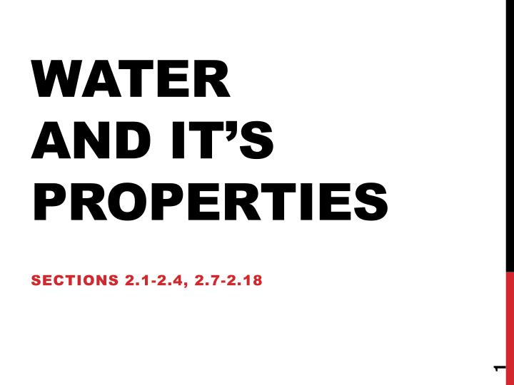 Water and it s properties