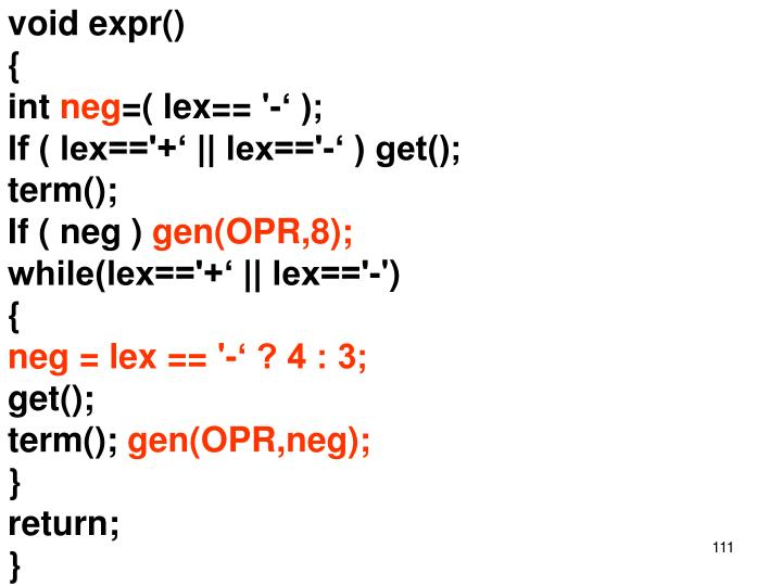 void expr()