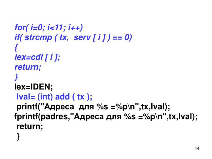 for( i=0; i<11; i++)