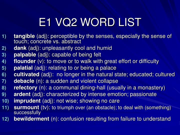E1 VQ2 WORD LIST