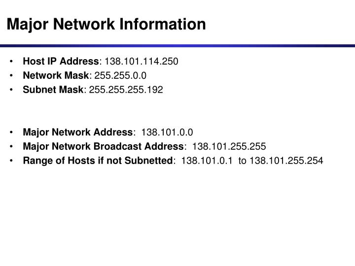 Major Network Information