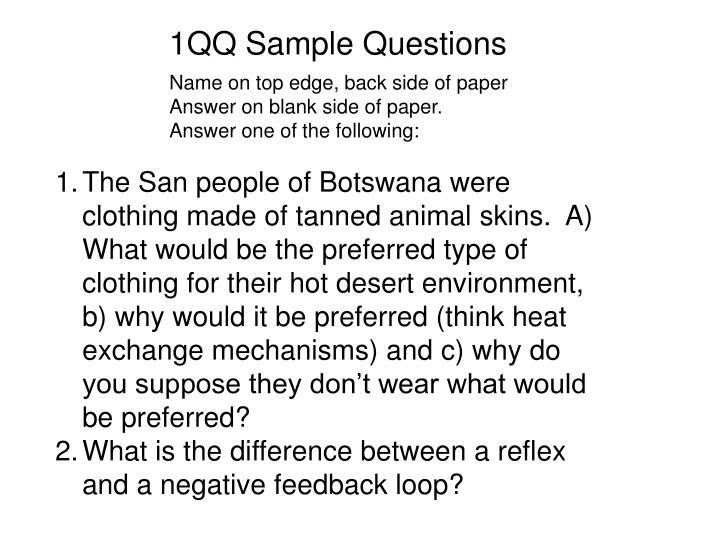 1QQ Sample Questions