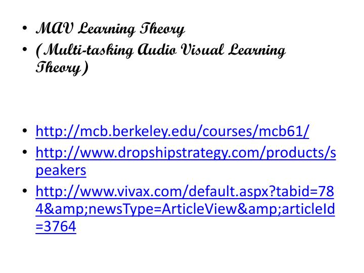MAV Learning Theory