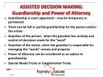 assisted decision making guardianship and power of attorney