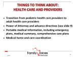things to think about health care and providers