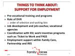 things to think about support for employment