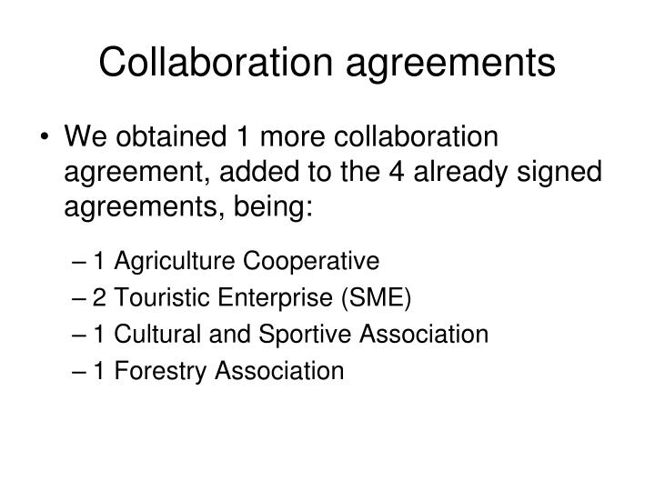 Collaboration agreements