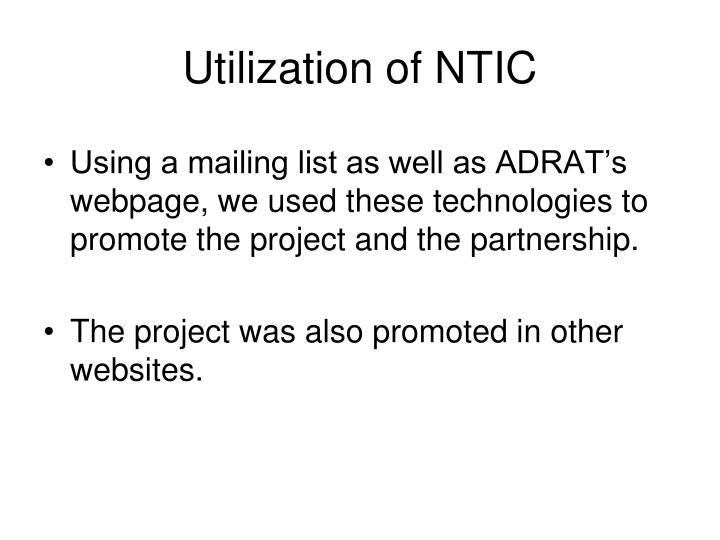 Utilization of NTIC