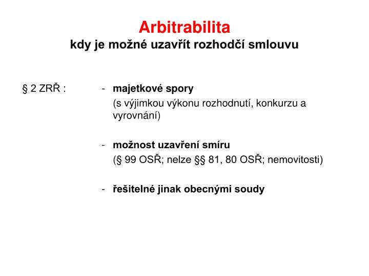 Arbitrabilita