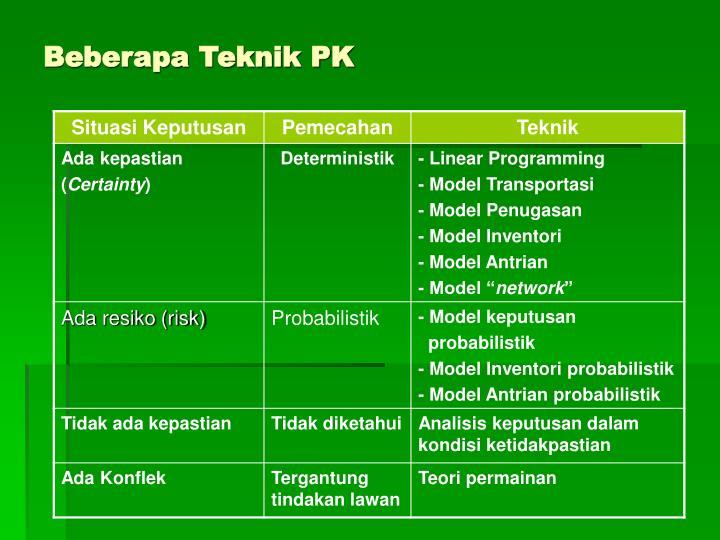 Beberapa Teknik PK