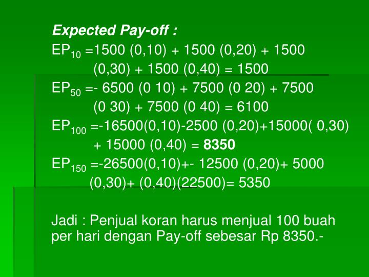Expected Pay-off :