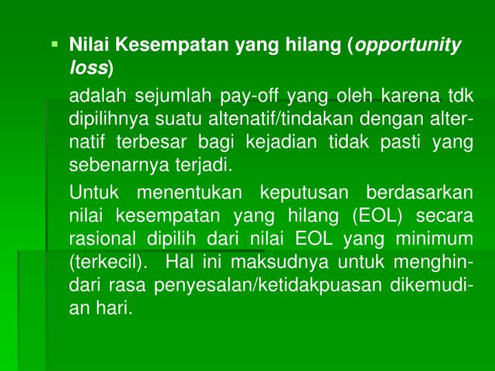 Nilai Kesempatan yang hilang (