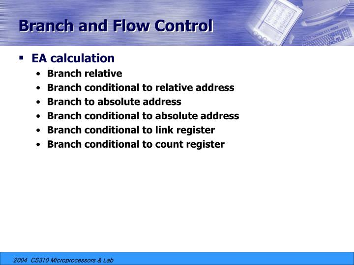 Branch and Flow Control