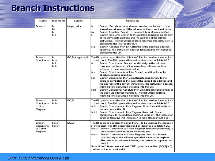 Branch Instructions