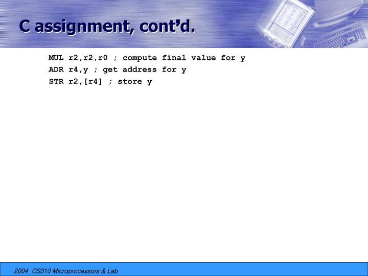 C assignment, cont