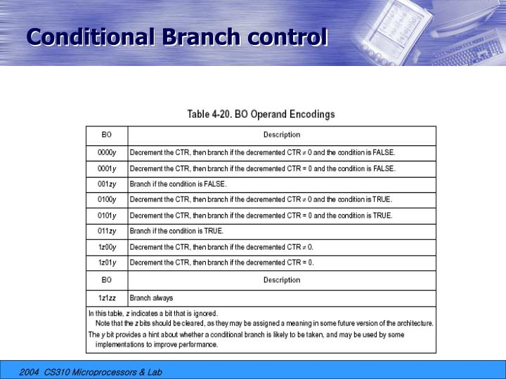 Conditional Branch control