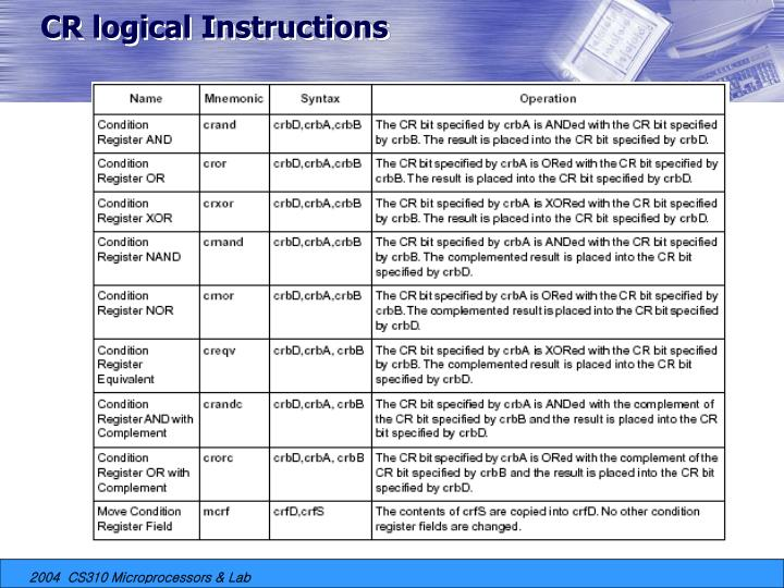 CR logical Instructions