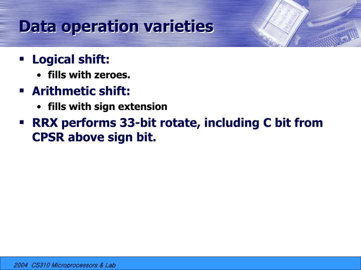 Data operation varieties