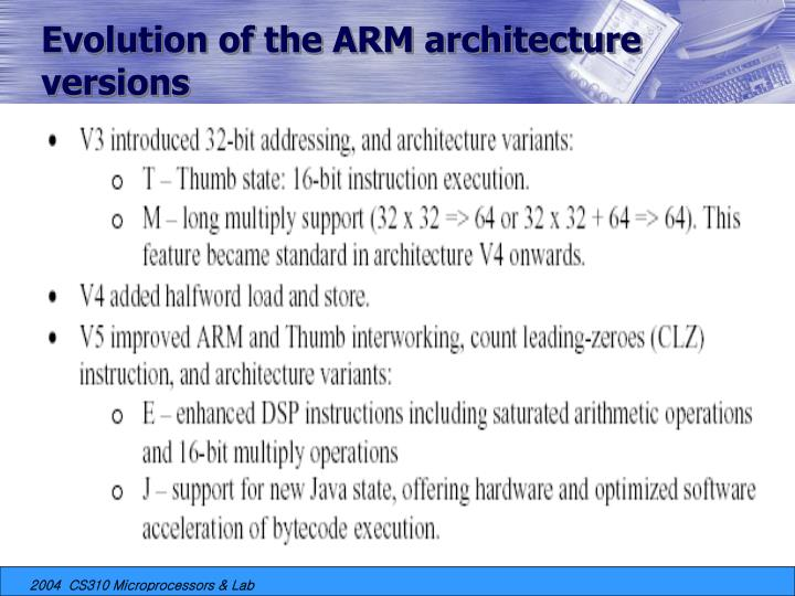 Evolution of the ARM architecture versions