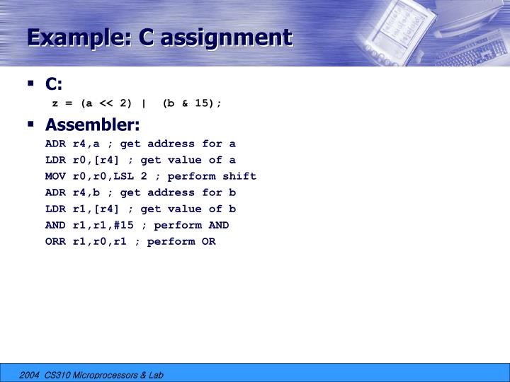 Example: C assignment