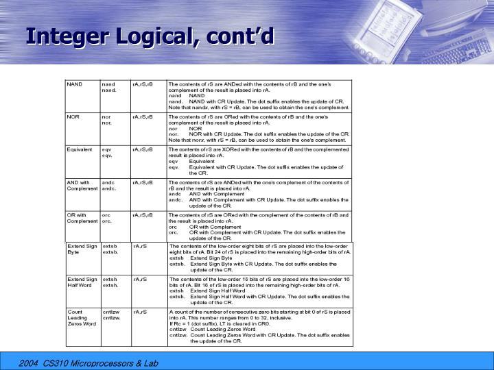Integer Logical, cont'd