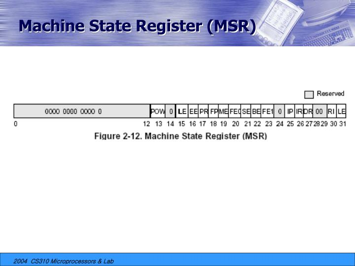 Machine State Register (MSR)