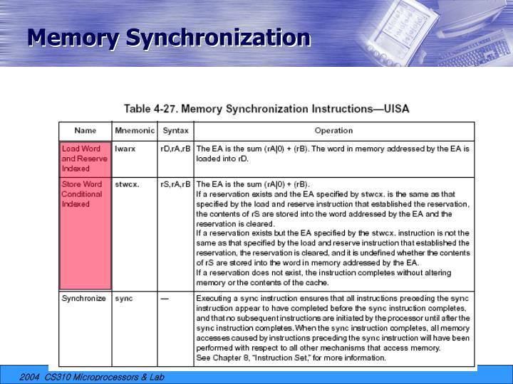 Memory Synchronization