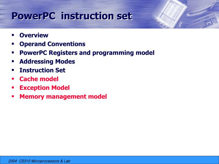 PowerPC  instruction set