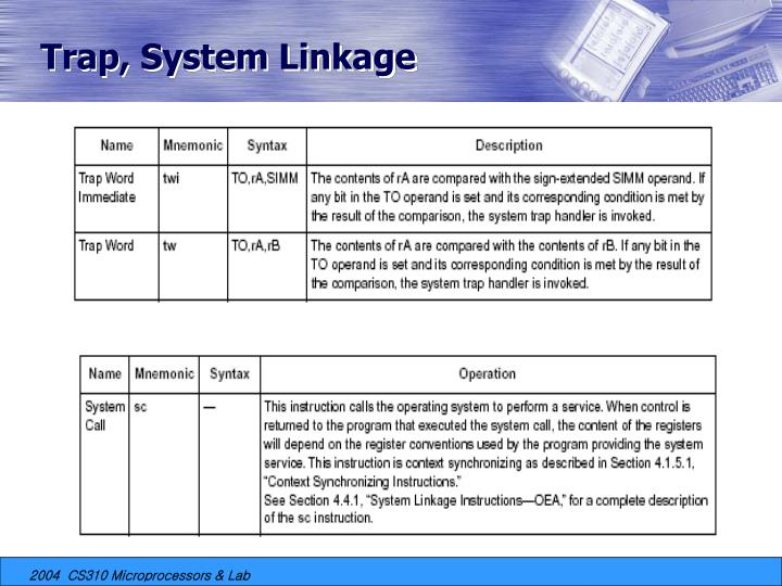 Trap, System Linkage